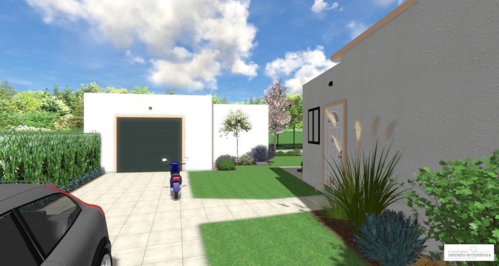 Řešení zahrady v okolí vjezdu do gatáže